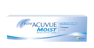 1•DAY ACUVUE® MOIST® for ASTIGMATISM are lenses for every moment every day, with a winning combination of clear, stable vision and long lasting comfort plus the convenience of a daily disposable contact lens.